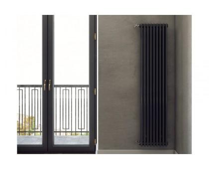 Стальной трубчатый радиатор Zehnder Charleston 2180 боковое подключение, чёрный