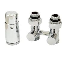 Комплект узел нижнего подключения прямой, хром G 3/4 x 3/4 D=50 мм с термоголовкой MINI M30x1,5 + 2 Ниппеля 1/2x3/4